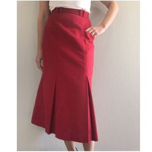 Vintage Red Wool Pleated Midi Skirt Pocket